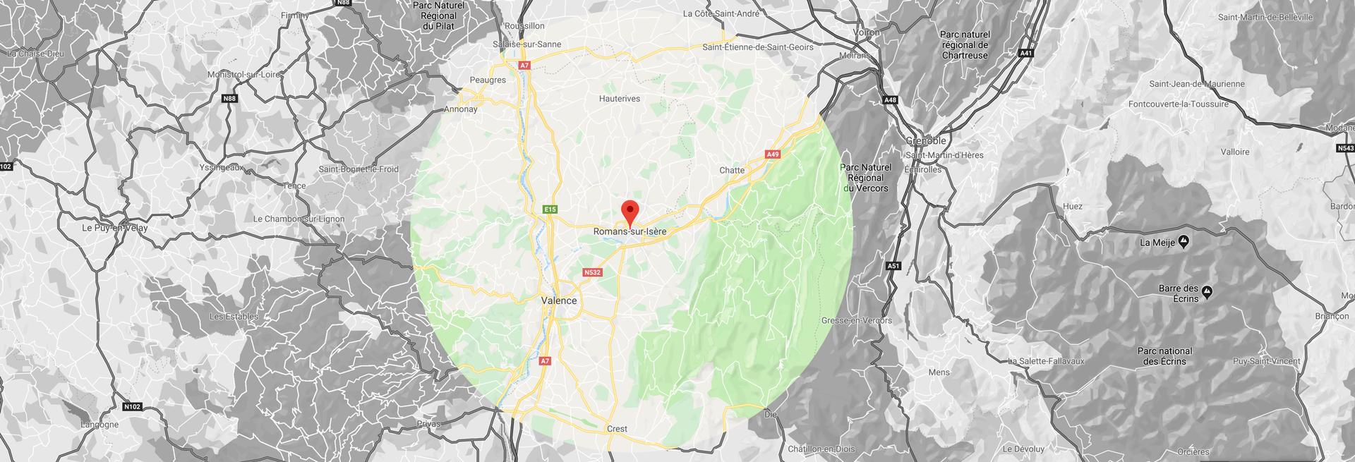 Zone d'internetion de 40 kilomètres autour de Romans-sur-isère